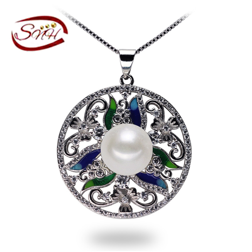 SNH Free Shipping Fashion Design Natural Pearl Pendant 100 Freshwater Pearl Pendant Necklace With 925 Silver