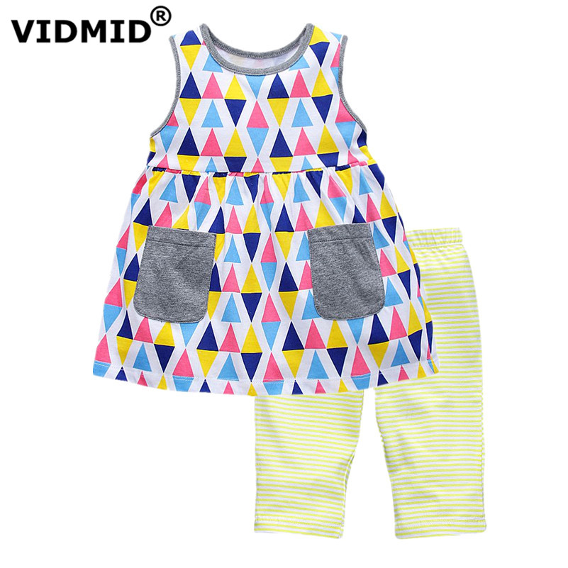 VIDMID Summer Kids Clothes cotton Girls Clothing Sets Children Cartoon Printing T-shirt+Shorts Suits Baby kids Girls Clothes summer baby boys clothing set cotton animal print t shirt striped shorts sports suit children girls cartoon clothes kids outfit
