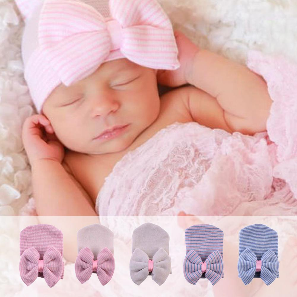 1pcs Newborn Baby Hat Toddler Kids Boy&Girl Bowknot Cute Solid Soft Cotton Baby Cap Warm Newborn Hat