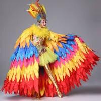 Sunbird открытие шоу сценический костюм индивидуальные танцевальная одежда женский сценический костюм перо праздничная одежда карнавал