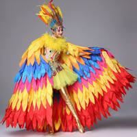 Sunbird opening show stage costume customized dance wear woman stage costume feather festival clothing Carnival