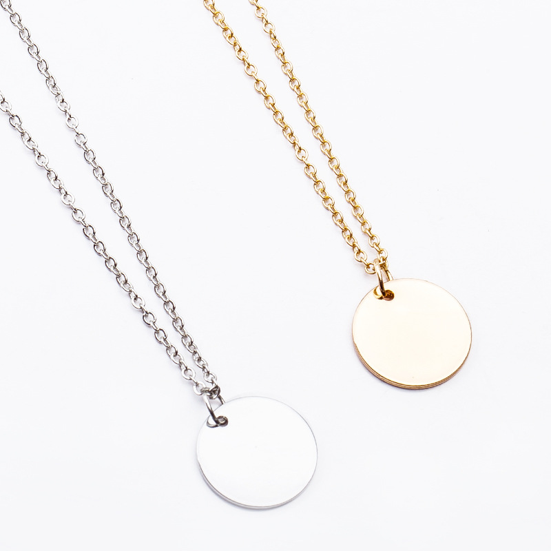 Simple Little Round Metallic Medal Golden Silver Necklace Choker for Women necklace