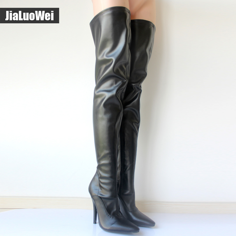 Jialuowei Hot Sale ladies sexy fetish thigh high Heel boots Women Casade pointed toe stiletto Thin heel crotch Long shoes jialuowei women sexy fashion shoes lace up knee high thin high heel platform thigh high boots pointed stiletto zip leather boots