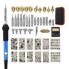 wood Burning Pyrography Pen Kit with work bag Adjustable Temperature Soldering iron with carving stencils 10pcs Drawing template