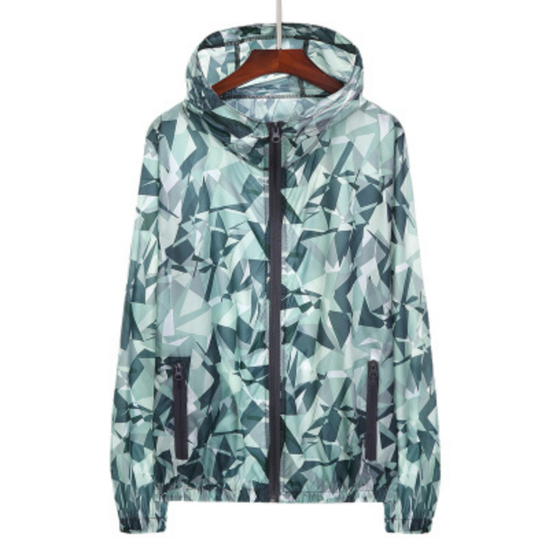 Mens Jacket Hooded Floral Camouflage Slim 2018 Summer Style Mens and Womens Coat Large Size Anti-sun Coats for Lovers