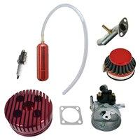 CNC Red Cylinder Head Power Boost Bottle Carburetor Spark Plug For 80cc Motorized Bike