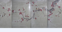 Hand painted gold/silver Foil wallpaper painting plum blossom wall cover sticker