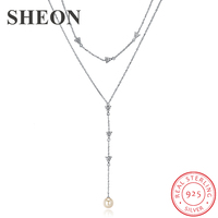 SHEON Pearl Pendant Necklaces 925 Sterling Silver Long Tassel Double Sweater Chain for Women Fashion Jewelry Anniversary Gift