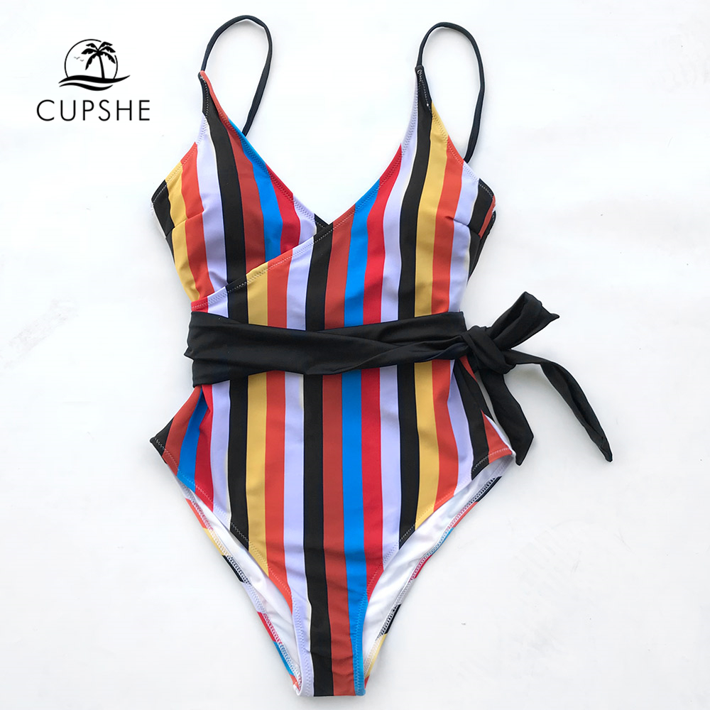 CUPSHE Tropic Of Discusssion Stripe One-piece Swimsuit Women Push Up Tied Bow Belt Monokini 2018 Girl Bathing Suit Swimwear цены