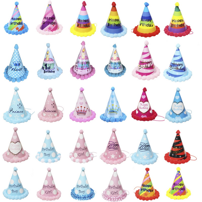 Urijk Happy Birthday Paper Cone Hats Dress Up Girls Boy My First Party Xmas Supplies