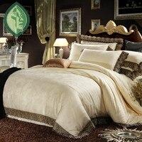 Silk Satin 100 Cotton Luxurious Bedding Sets 4pcs Queen King Discount Bedding Bedlinen Bedclothes White Noble