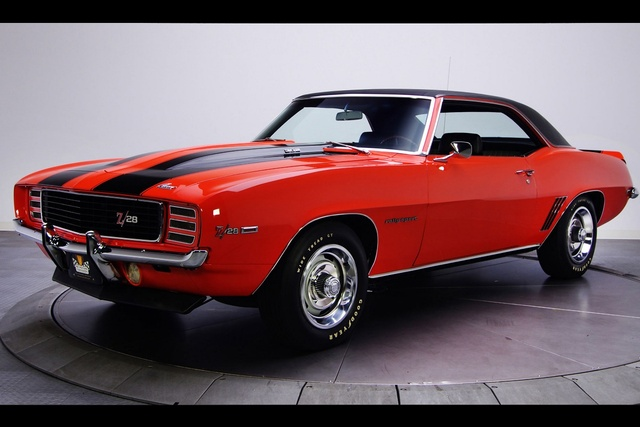 1969 Camaro Z28 Rs Retro Cool Red Muscle Car Kc224 Living Room Home