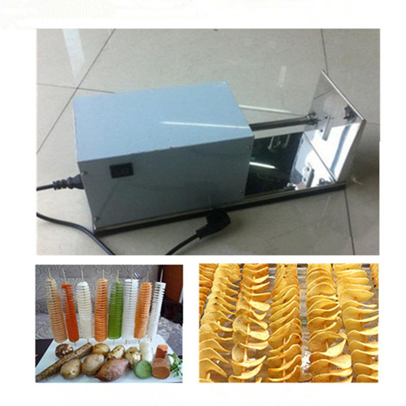 220v electric potato tower machine stainless steel spiral potato cutter cropped wide sleeve top