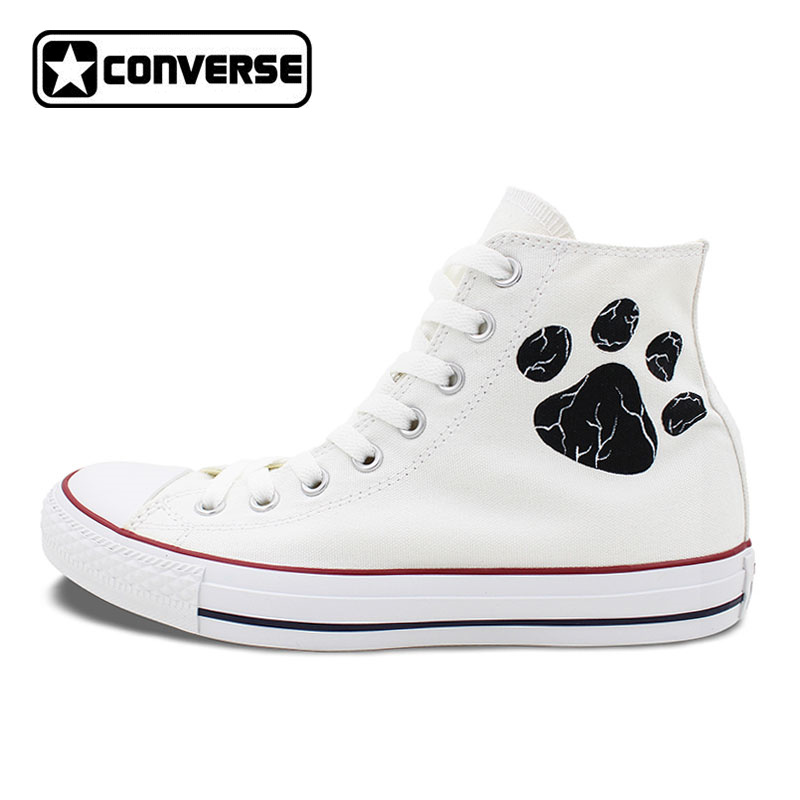 White Converse All Star Boys Girls Shoes Custom Pet Dog Paws Hand Painted High Top Canvas Sneakers Women Men Skateboarding Shoes mens converse shoes custom hand painted hunger game high top black canvas sneakers unique presents