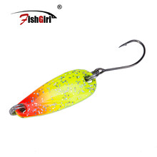 Pesca fishgirl marca colorida cuchara cebo 3g 5,5g Metal Pesca señuelo trucha Pesca Wobbler cuchara señuelo Perch Pike salmón Chub bajo(China)