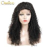 Ossilee Синтетические волосы на кружеве натуральные волосы парики бразильский вьющиеся натуральные волосы парик 150% плотность кудрявый парик
