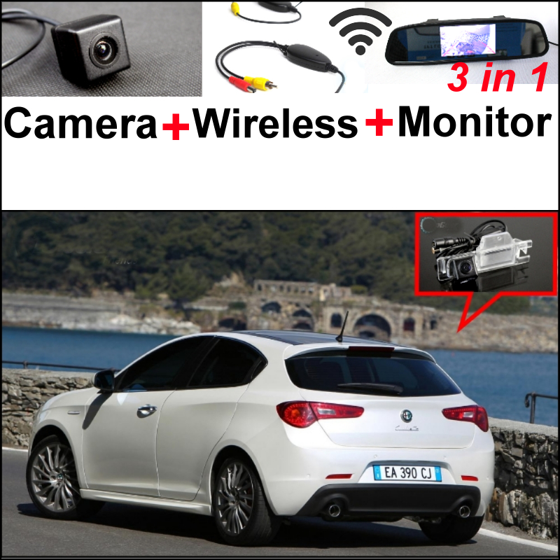3 in1 Special WiFi Camera + Wireless Receiver + Mirror Monitor EASY DIY Parking System For Alfa Romeo Giulietta 940 2010~2015 wireless pager system 433 92mhz wireless restaurant table buzzer with monitor and watch receiver 3 display 42 call button