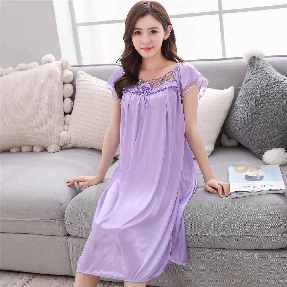 dfbd79a205bd ... Lace nightgowns 2018 Summer sexy lady ice silk long sleep skirt women  short sleeves nightdress Young ...
