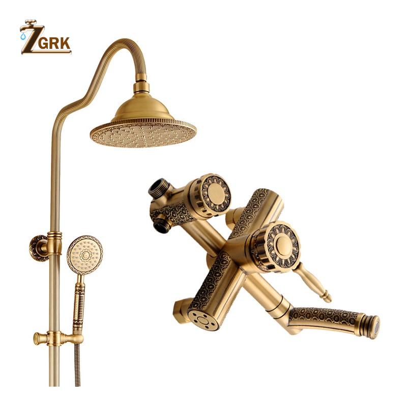 ZGRK Bathroom Rain Shower Set Antique Bronze Handheld Shower Wall Mounted Bath Shower Set Faucets HS9738S Shower System     - title=