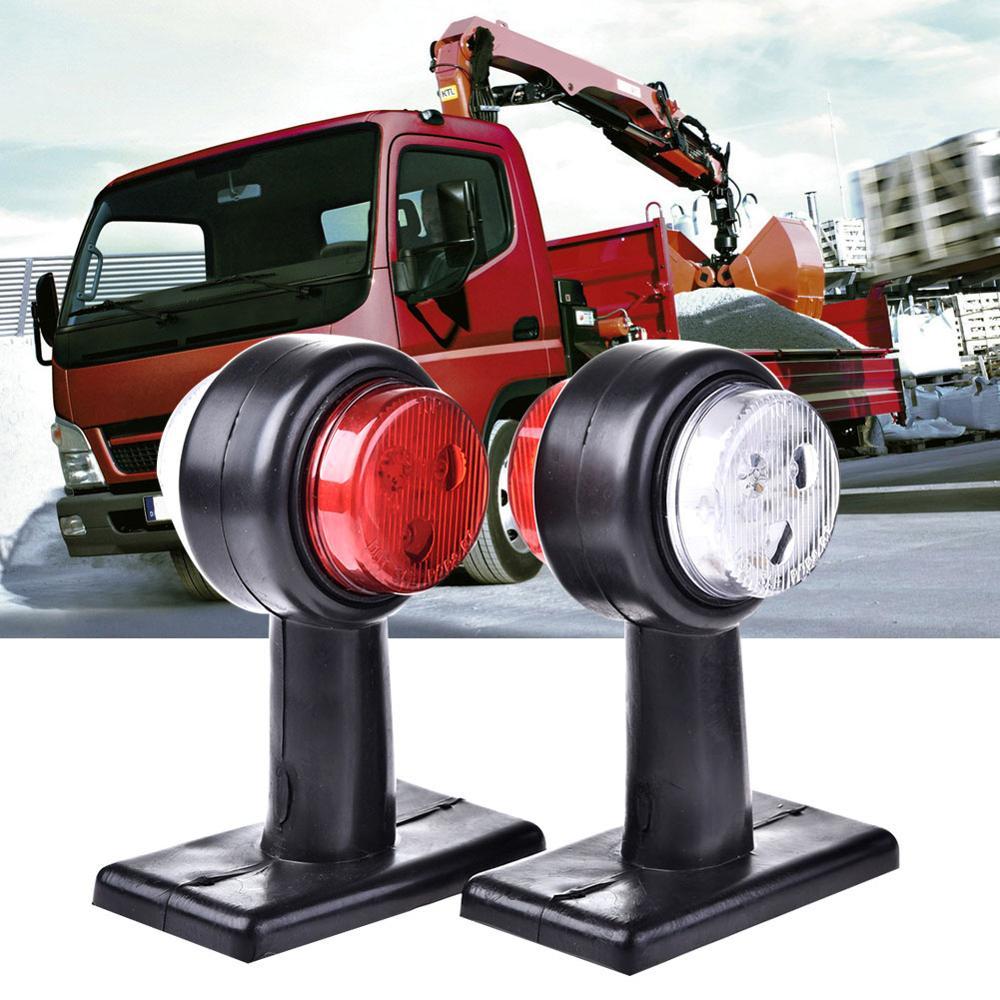 מקרן קיר 2pcs 10-30V טריילר משאית האדום לבן 12-LED עמילות Side Marker אור מנורה (1)