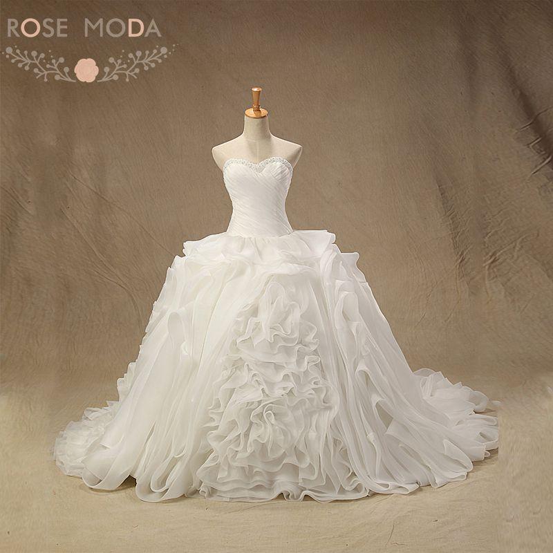 Ruffled Ball Gown Wedding Dress: Rose Moda Organza Ball Gown Pearl Beaded Ruffled Wedding