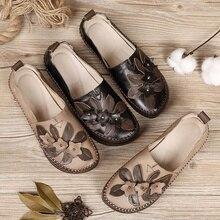 AARDIM/Женская обувь; модная Милая обувь из натуральной кожи на платформе; Женская Осенняя обувь в стиле ретро с закрытым носком без застежки; женские лоферы;