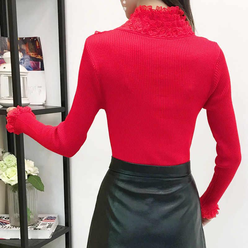 Гофрированный воротник водолазка свитер женский 2019 весна высокий эластичный длинный рукав джемпер трикотажные топы женские осенние кружевные пуловеры 405