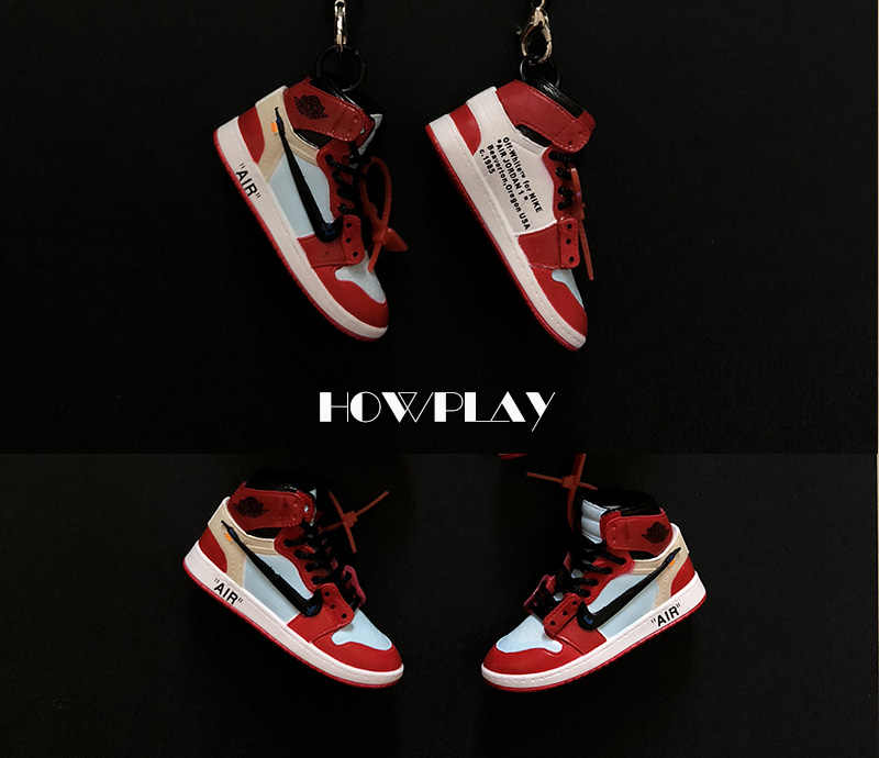 hot sales 1f98a e611c ... Howplay AJ1 OW sneaker keychain 3D jordan backpack pendant basketball  shoes model creative gift for air ...