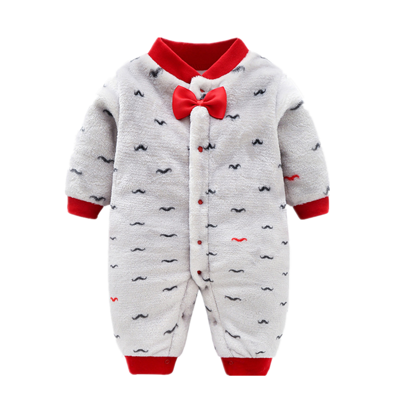 Newborn toddler boys warm rompers cotton thick velvet jumpsuits for infant overall winter autumn toddler girls clothes