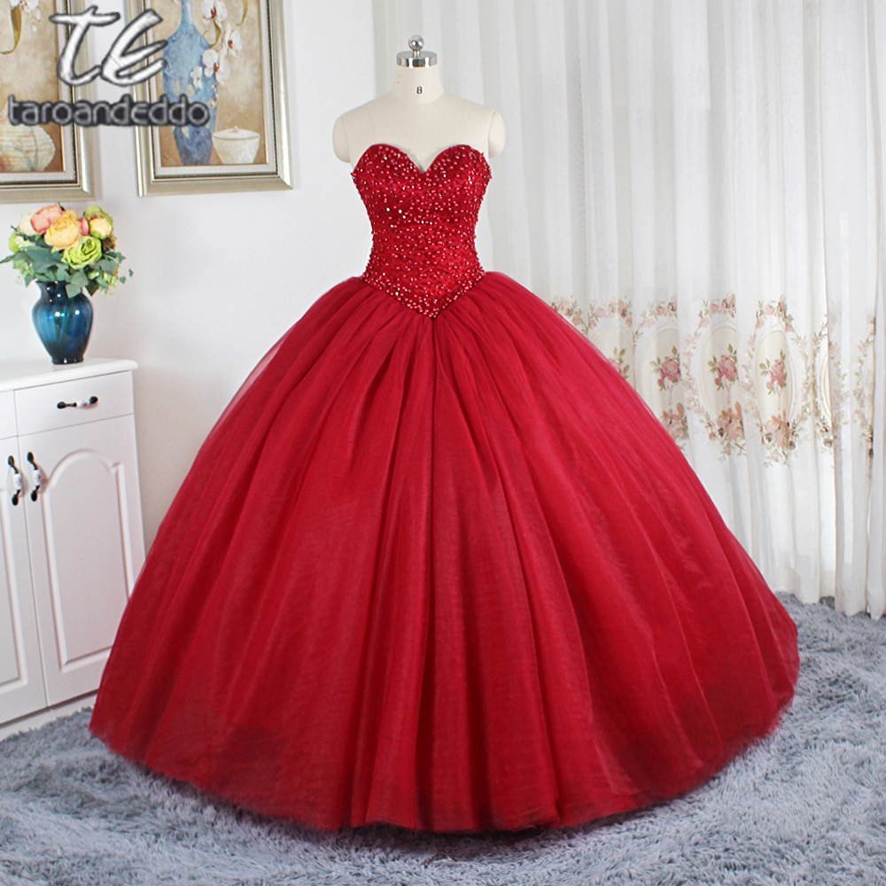 Wine Red Ball Gowns Wedding Dress Puffy Skirt Gowns For Bridal Sweep Train Crystals Wedding Gowns Vestidos De Novias