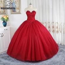 76ca59fdc5705 Şarap Kırmızı balo elbisesi düğün elbisesi Puf Etek Abiye için Gelin Sweep  Tren Kristaller Gelinlikler vestidos