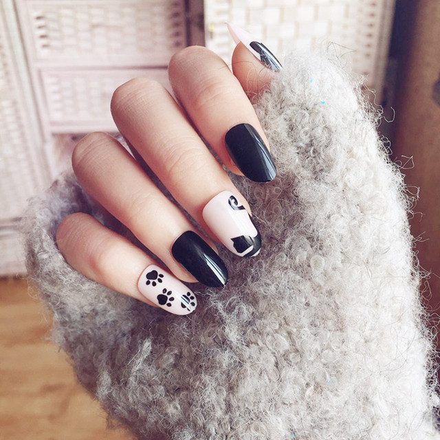 24pcs Set Cute Kitty Fake Nails Full Cover Short Nail Designs Finished Black False