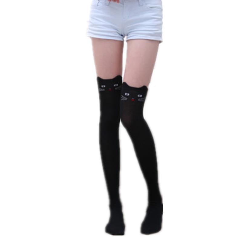 Japanese Kawaii Cartoon Women's Stockings Cotton Over Knee High Socks Thigh High Stockings Female Cute Animal Long Knee Socks