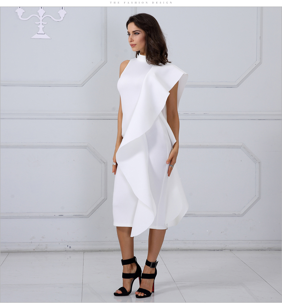 Adyce 2018 New Style Spring Dress Women Sexy White Sleeveless Patchwork Ruffles Bodycon Vestidos Celebrity Party Dress Clubwear 7