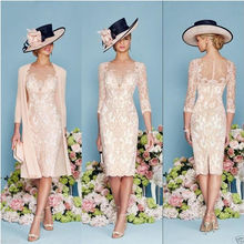 Formal Lace Mother Of The Bride With Jacket Tea Length Plus Size Mother of Groom Dress Cheap High Quality Designer Evening dress