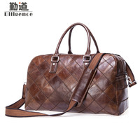 Genuine Leather Vintage Large Capacity Travel Bag Mens Short Trip Bag Fashion Handbags Travel Luggage