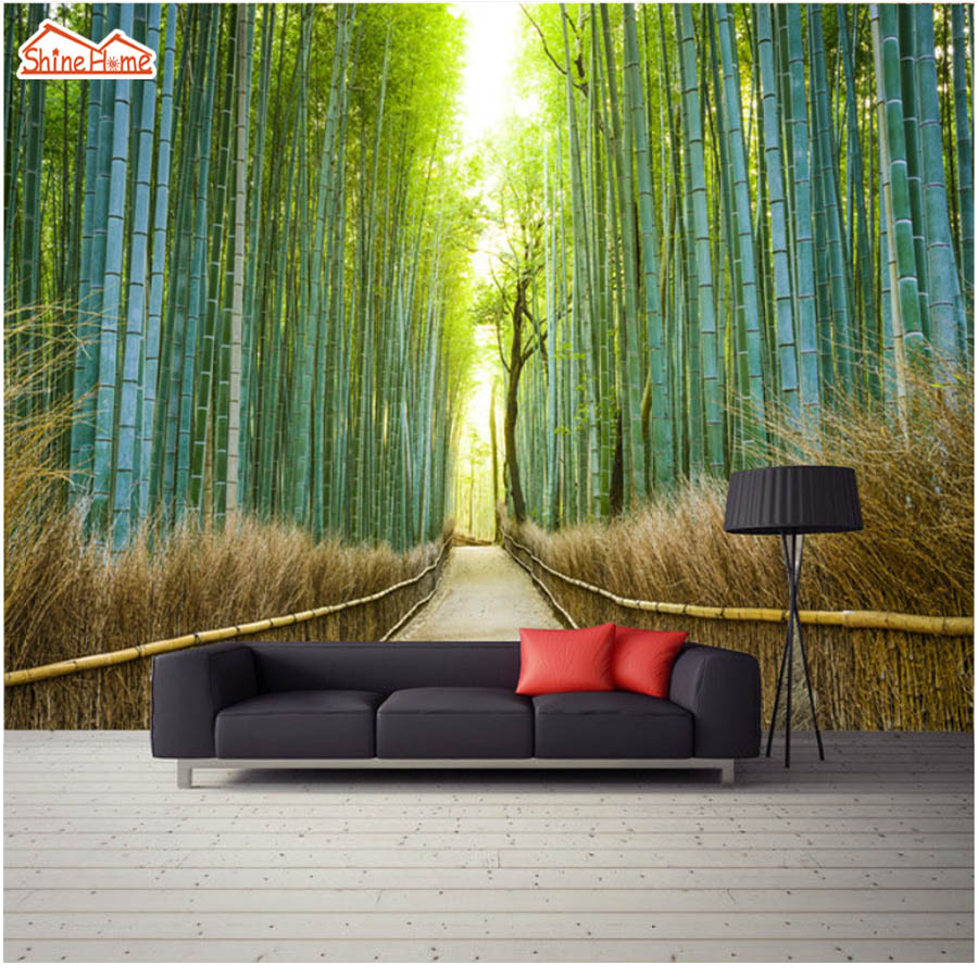 ShineHome-Bamboo Forest Sunshine Road Photo Wallpaper for 3 d Murals for Walls Roll Wall Paper Rolls Papel Pintado Pared Rollos shinehome butterfly nordic wall picture wallpapers 3d wallpaper for walls 3 d living room wall paper wallpaper murals roll art