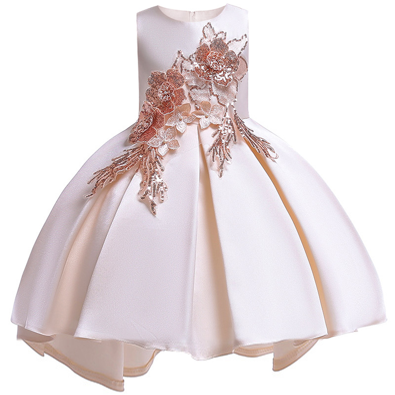 2019   Flower     Girls     dress   for   Girls   Kids Clothing Beaded embroidery Wedding   Girls     Dresses   for Children Party Trailing Custumes
