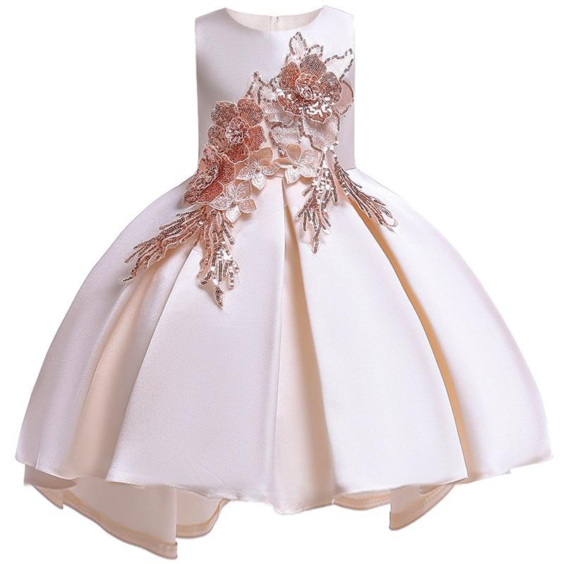b3440f71 2019 vestido de flores para Niñas Ropa para niños bordado con cuentas vestidos  para niñas para fiesta de niños