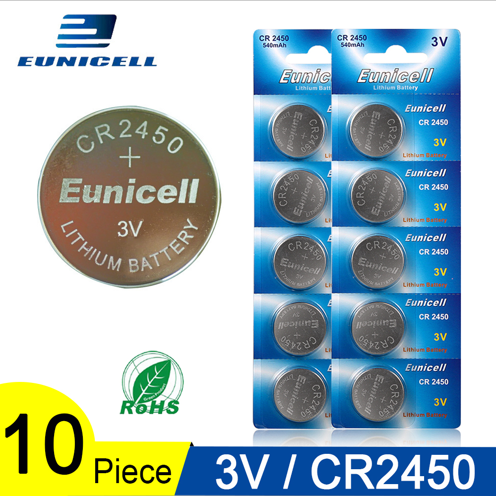 10PCS 350mAh Button Battery <font><b>3V</b></font> CR2450 <font><b>CR</b></font> <font><b>2450</b></font> ECR2450 KCR2450 5029LC LM2450 DL2450 BR2450 Alkaline Button Cell Coin Batteries image