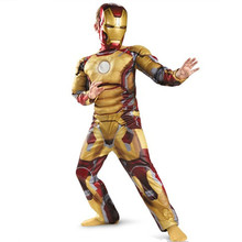 Iron Man Mark Patriot Muscle Child Kids Halloween Costume Fantasia Avengers LED Masks Superhero Cosplay Outfit new arrival child boys the avengers superhero muscle thor costume