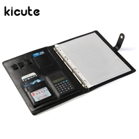 Kicute 1pcs Black PU Leather Binder Conference Folder Document Bag Business Briefcase Top Quality Office School