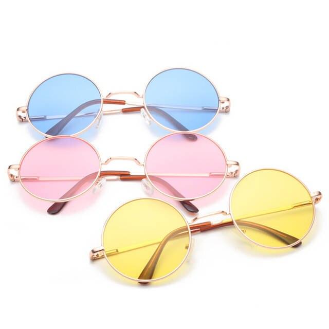 e29a59c38d949 Retro hippie Lennon rodada óculos de sol das mulheres de Metal armação de Metal  círculo lentes