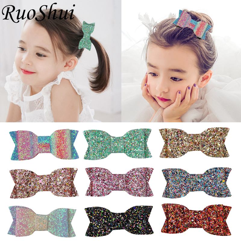 Fashion 3 Inch Bow Hair Accessories Colorful Sweet Glitter Hair Clips Kids Hairpins Girls   Headwear   Bowknot Barrettes for Girls
