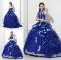 Frete grátis vestidos de 15 anos azul apliques vestidos quinceanera 2016 vestido de baile vestidos debutante vestido para quinceaneras