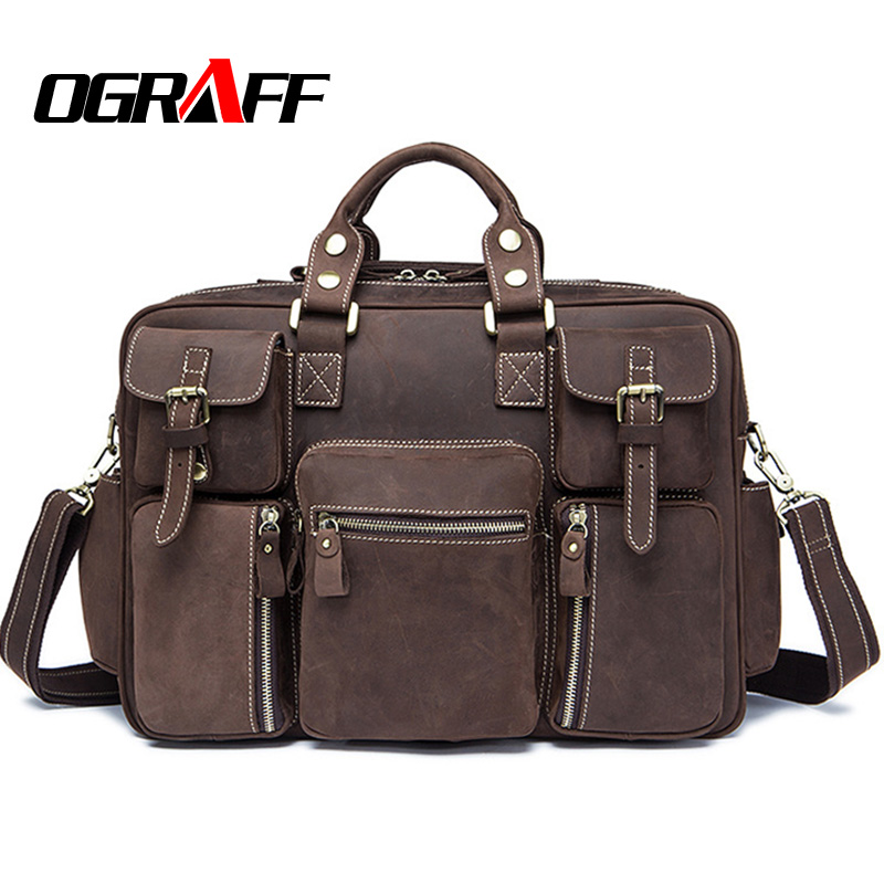OGRAFF Famous brand Men messenger bag handbag genuine leather bags men briefcases designer crossbody bag business travel men bag вентилятор