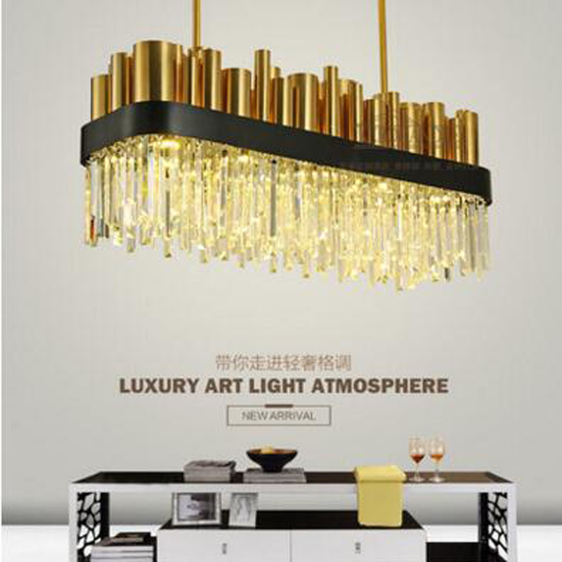 Restaurant crystal lamp square postmodern simple stainless steel bronze villa luxury LED modern crystal chandelier for bedroom led crystal chandelier lamp can be customized stainless steel restaurant