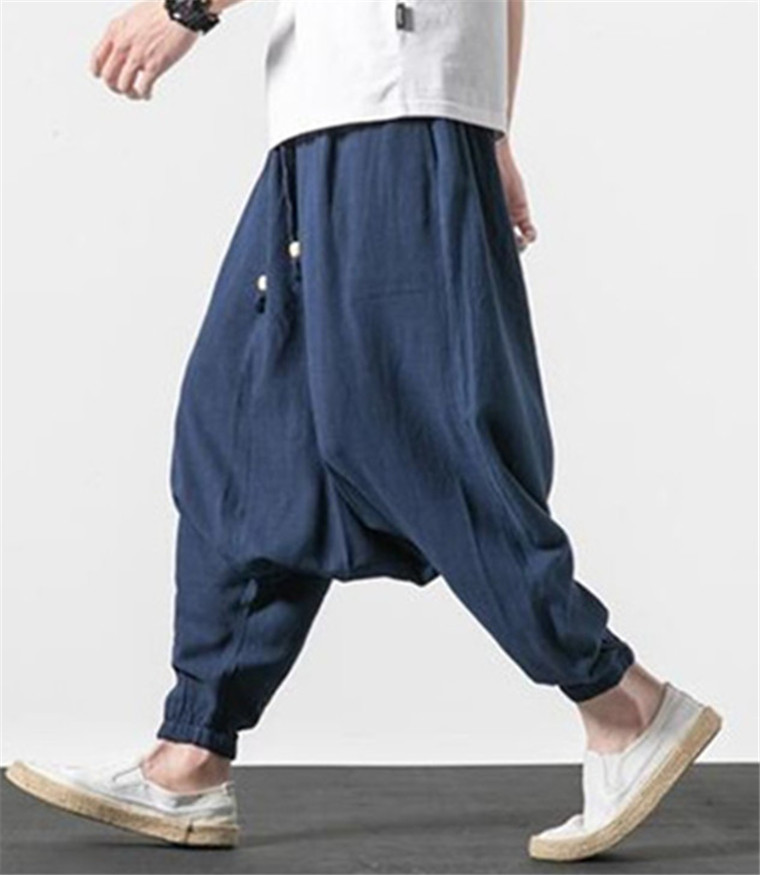 New 2019 Summer Fashion Men's Casual Loose Cotton Linen Trousers Plus Size M- 6XL 7XL Harem Pants Brand Autunm Cross-pants