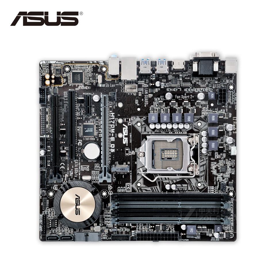 Asus H170M-E D3 Desktop Motherboard H170 Socket LGA 1151 i7 i5 i3 DDR3 64G SATA3 Micro-ATX Second-hand High Quality материнская плата asus h81m r c si h81 socket 1150 2xddr3 2xsata3 1xpci e16x 2xusb3 0 d sub dvi vga glan matx
