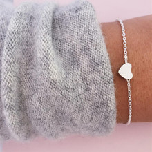 IPARAM Fashion Gold Silver Heart Adjustable Bracelet Women Summer Simple Heart Charm Bracelet Disclaimer Party Jewelry Gift(China)